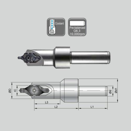 J 99616-IC25-25B BC25-IC25B hengeres szárú kiegyensúlyozott váltólapkás központfúró
