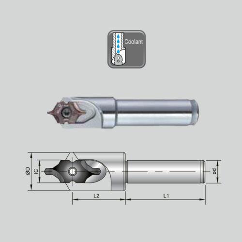 J 99616-IC08-10F BC10-IC08F hengeres szárú váltólapkás központfúró