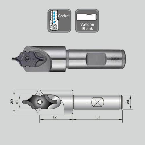 J 99616-IC12-16F SB16-IC12F weldon szárú váltólapkás központfúró